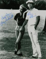 Chevy Chase & Cindy Morgan Dual-Signed Caddyshack B&W 16x20 Photo w/Lacey Underall