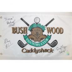Chevy Chase, Cindy Morgan & Michael O'Keefe Autographed Caddyshack Golf Flag JSA
