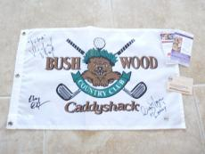 Chevy Chase, Cindy Morgan, Michael O'Keefe Signed CaddyShack Flag Steiner+JSA