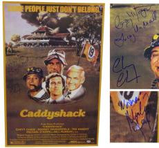 Chevy Chase, Cindy Morgan & Michael O'Keefe Triple Signed Caddyshack Cast Full Size 24x36 Movie Poster w/Lacey Underall & Noonan