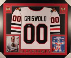Chevy Chase-clark Griswold Autographed Framed / Matted Chicago Blackhawks Jersey