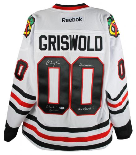 """Chevy Chase """"Clark Griswold, Go Hawks"""" Signed White Reebok Blackhawks Jersey BAS"""