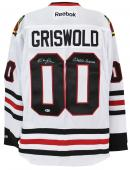 """Chevy Chase """"Clark Griswold"""" Signed White Reebok Blackhawks Jersey BAS Witnessed"""