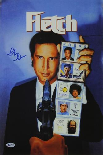 Chevy Chase Fletch Signed 12x18 Mini Movie Poster BAS Witnessed 2