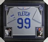 Chevy Chase Fletch Signed & Framed Grey Majestic Dodgers Jersey BAS Witnessed