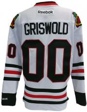 Chevy Chase Griswold Christmas Vacation Blackhawks Reebok Premier Jersey Small
