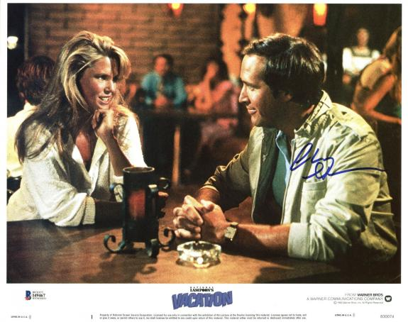 Chevy Chase Lampoon's Vacation Signed 11X14 Lobby Card BAS Witnessed #I49467