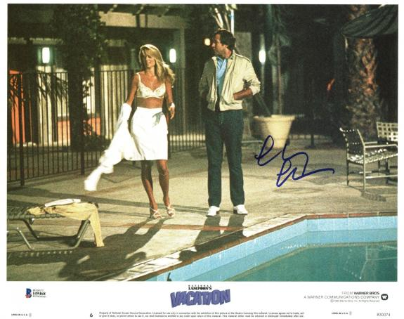 Chevy Chase Lampoon's Vacation Signed 11X14 Lobby Card BAS Witnessed #I49468