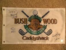 CHEVY CHASE MICHAEL O'KEEFE and CINDY MORGAN SIGNED CADDYSHACK GOLF FLAG JSA