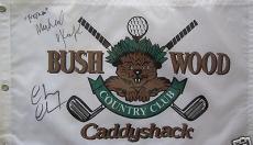 Chevy Chase Michael O'Keefe auto signed Caddyshack Bushwood CC golf pin flag SSG