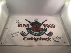 Chevy Chase Michael O'keefe Cindy Morgan Signed Caddyshack Flag Bas Beckett