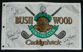 Chevy Chase, Michael O'Keefe & Cindy Morgan Triple Signed Caddyshack Bushwood Golf Flag w/Lacey, Noonan