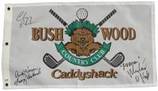 Chevy Chase, Michael O'Keefe & Cindy Morgan Triple Signed Caddyshack Bushwood Golf Flag w/Lacey Underall, Noonan