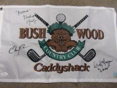 Chevy Chase, Micheal Okeefe, Cindy Morgan Signed Caddyshack Golf Flag Jsa Coa