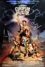 Chevy Chase Natl. Lampoon's Eurpeon Vacation Signed 12x18 Movie Poster PSA ITP