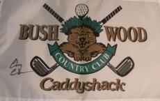 Chevy Chase Signed Autographed Bush Wood Caddyshack Golf Flag Psa Loa