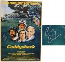 Chevy Chase Signed Caddyshack 27x40 Full Size Movie Poster (in silver)