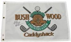 Chevy Chase signed Caddyshack Beaver Logo Bushwood Country Club Golf Pin Flag- PSA Hologram (entertainment)