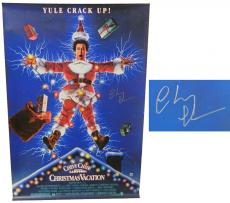 Chevy Chase Signed National Lampoon's Christmas Vacation 27x40 Full Size Movie Poster