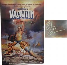 Chevy Chase Signed National Lampoon's Vacation 27x40 Full Size Movie Poster