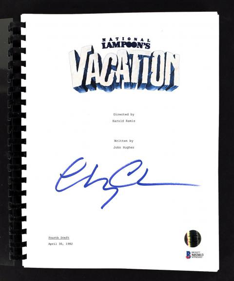 Chevy Chase Signed National Lampoon's Vacation Movie Script BAS Witness #M53013