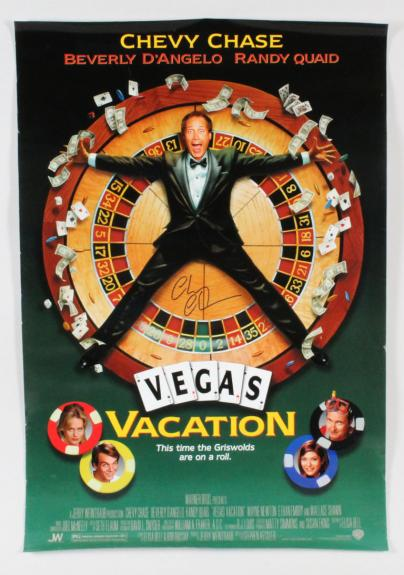 Chevy Chase Signed Poster Vegas Vacation – COA JSA