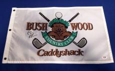 "Chevy Chase ""Ty Webb"" Signed Bush Wood Caddyshack Golf Flag IP PSA 7A92343"