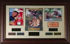 Chevy Chase unsigned Caddyshack Vintage Golf Movie Poster Collage Leather Framed 26x41 w/ photos (entertainment)