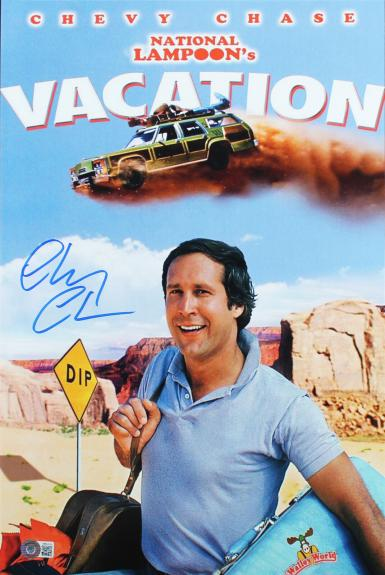 Chevy Chase Vacation Signed 12x18 Mini Movie Poster BAS Witnessed 1