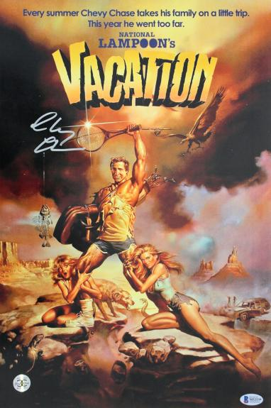Chevy Chase Vacation Signed 12x18 Mini Movie Poster BAS Witnessed 2