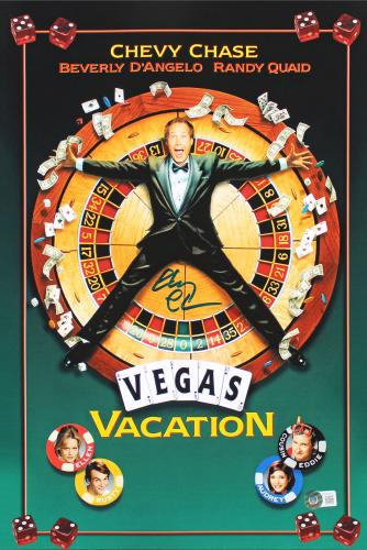 Chevy Chase Vegas Vacation Signed 12x18 Mini Movie Poster BAS Witnessed