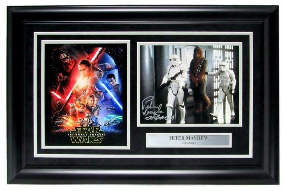 Chewbacca Star Wars Photo Collage Signed by Peter Mayhew Framed Steiner 143951