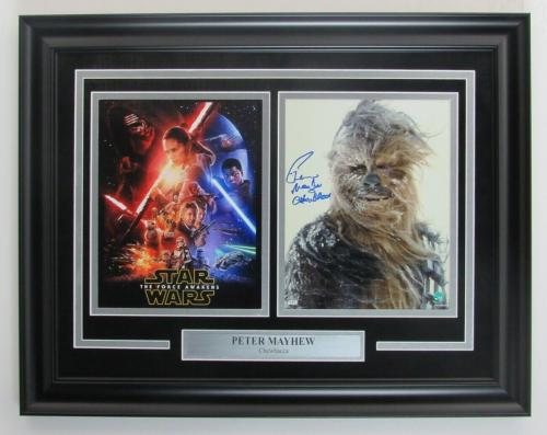 Chewbacca Star Wars Photo Collage Signed by Peter Mayhew Framed Steiner 146934
