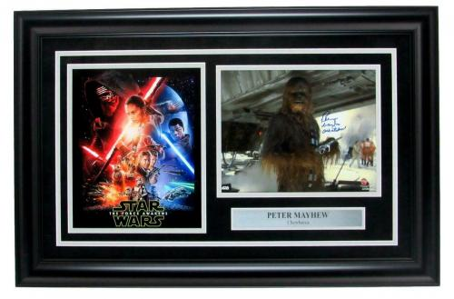 Chewbacca Star Wars Photo Collage Signed by Peter Mayhew Framed Steiner 147450