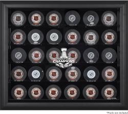 Chicago Blackhawks 2015 Stanley Cup Champions Black Framed 30-Puck Logo Display Case