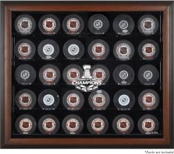Chicago Blackhawks 2015 Stanley Cup Champions Brown Framed 30-Puck Logo Display Case
