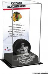 Chicago Blackhawks 2015 Stanley Cup Champions Logo Standard Puck Display Case