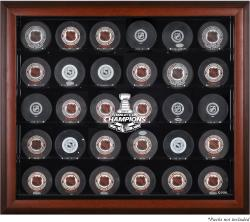 Chicago Blackhawks 2015 Stanley Cup Champions Mahogany Framed 30-Puck Logo Display Case
