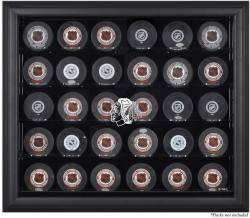Chicago Blackhawks 30-Puck Black Display Case - Mounted Memories