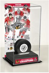 Chicago Blackhawks 2013 Stanley Cup Champions Logo Deluxe Puck Display Case - Mounted Memories
