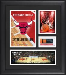 "Chicago Bulls Team Logo Framed 15"" x 17"" Collage with Team-Used Baseketball"
