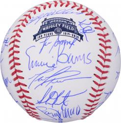 Chicago Cubs Autographed 100th Anniversary Logo Baseball with Multiple Signatures