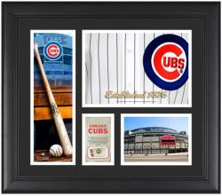 """Chicago Cubs Team Logo Framed 15"""" x 17"""" Collage with Piece of Game-Used Ball"""