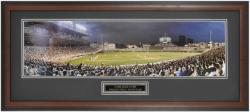 Chicago Cubs Wrigley Field at Night Framed Unsigned Panoramic Photograph with Suede Matte