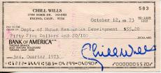 Chill Wills Character Actor John Wayne Co-star Signed Check Autograph
