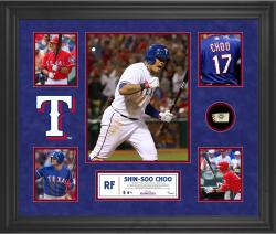 Shin-Soo Choo Texas Rangers Framed 5-Photograph Collage with Piece of Game-Used Ball - Mounted Memories