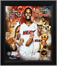 Chris Bosh Miami Heat 2013 NBA Champions Framed 15x17 Multi-Photo Collage with Game-Used Basketball Piece - L.E. of 500