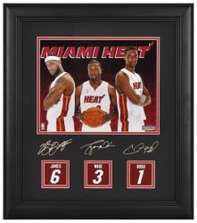 "Miami Heat ""Big 3"" 8"" x 10"" Photograph with Jersey Back Replicas and Facsimile Signatures"