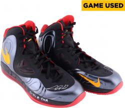 """Chris Bosh Miami Heat Autographed Game Worn (2013 Championship Season) Shoes (Black, Gold, and Red) with """"12/26 @ CHA"""" Inscription (Win)"""