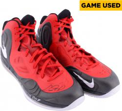 """Chris Bosh Miami Heat Autographed Game Worn (2013 Championship Season) Shoes (Red and Black) with """"1/10 @ POR"""" Inscription (29 Points)"""